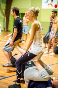 Fitness-sitting on feet
